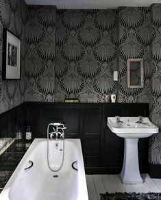 4 Simple and Stylish Tips: Bathroom Remodel Layout Floating Shelves inexpensive bathroom remodel tutorials.Bathroom Remodel Diy Walk In modern bathroom remodel wainscoting. Black Wainscoting, Wainscoting Bedroom, Wainscoting Ideas, Painted Wainscoting, Wainscoting Panels, Half Bathroom Remodel, Shower Remodel, Laundry Room Bathroom, Master Bathroom