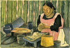 Mujer Haciendo Tortillas, óleo de Diego Rivera (1886-1957, Mexico)