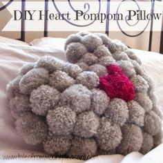Hands up if you LOVE pompoms!!! DIY Heart Pompom Pillow Tutorial :: Tales from Mount Pleasant