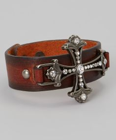 Brown Leather Sparkle Filigree Cross Bracelet @sandra johnson we could make these!