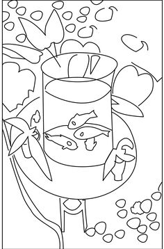 This week I was teaching a class at the Glassell Junior School called Picasso, Matisse, and van Gogh. I created this drawing of Matisse's Gold Fish for the kids to take home and color. For anyone...