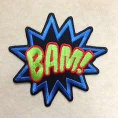 Pink Comic Style Super Hero Iron On Applique BAM Patch Backpack Jacket Accessory Girls Teen Punk Word Embroidered Sewing Novelty Badge