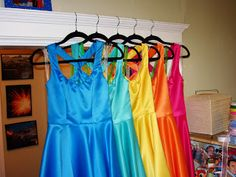 Bridesmaid dress details, purple dress isn't in this picture; rainbow wedding color scheme