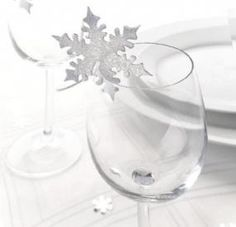 Silver snowflake glass place cards