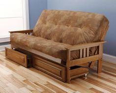 Sofa Mart Andover Full Size Futon Sofa Bed and Drawer Set Honey Oak Wood Frame Bonded
