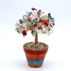 Chakra Wire Gemstone Tree Sculpture Chakra Tree Of Life Lucky Tree Feng Shui Decor Bonsai Tree Yoga Energy Healing Meditation Bead Tree Gift by BrilliantJewelryShop on Etsy Bonsai For Sale, Wire Wrapping Crystals, Healing Meditation, Tree Sculpture, Chakra, Planter Pots, Etsy, Gemstones, Gifts