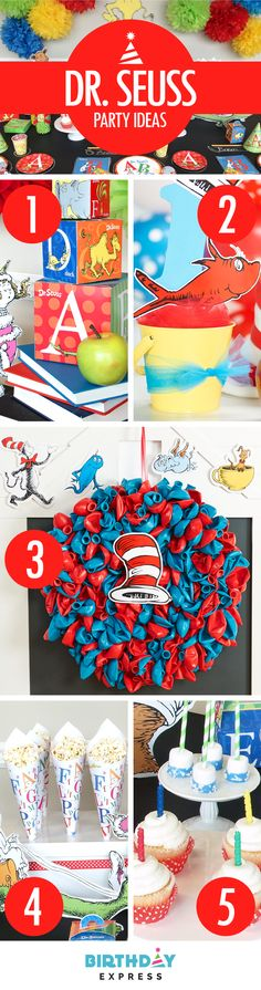 Check out the Top 5 Dr. Seuss birthday party ideas on BirthdayExpress.com: (1) Stacks of books and gift boxes make great centerpieces that go with Dr. Seuss party supplies. (2) Stuff a small bucket with tulle and add a Dr. Seuss cutout for some easy party decorations. (3) Create a wreath from red and blue un-inflated balloons. (4) Fun party snack idea – Use cones of Dr. Seuss wrapping paper to show off healthy party food options. (5) Colorful candles turn any cupcakes into Dr. Seuss cupcakes!