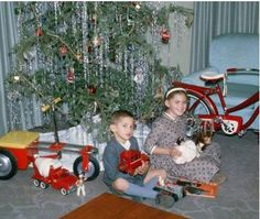 1960 toys under the Christmas tree vintage photo