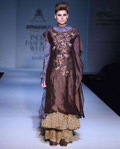 Embroidered Coffee Brown and Blue Kurta Set