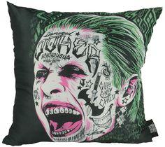 Cojín Escuadrón Suicida, Joker 40 x 40 cm  Cojín inspirada en la imagen del Joker, uno de los componentes del Escuadrón Suicida, perteneciente al universo DC Comic.
