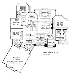 First Floor Plan of The Bluestone - House Plan #1302