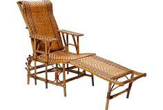 Antique wicker chaise longue, French, circa 1900.