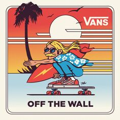 Sidewalk Surfin' para 🌊… by Photo Wall Collage, Picture Wall, Plakat Design, Vans Logo, Skate Art, Vintage Surf, Vans Off The Wall, Surf Art, Skateboard Art