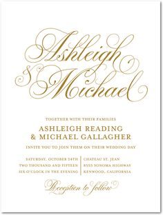 Soft SwirlingENG Gold Engraving Wedding Invitations Designed by: Jill Smith for Wedding Paper Divas