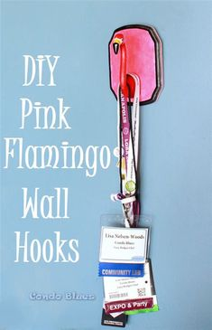 A step by step DIY craft tutorial how to make a pink lawn flamingo wall hook to…