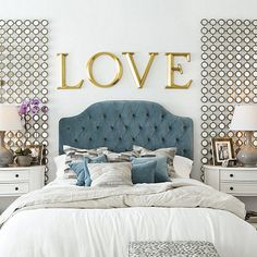 velvet tufted bed and the mirror