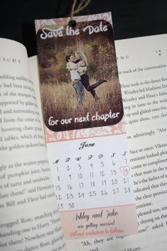 Custom Printable pink Save the Date Bookmarks by JustChuggingAlong, $20.00