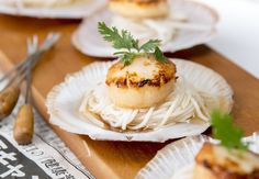 Grilled Scallops with Daikon and Cold Noodle Sauce Recipe