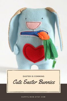 Stuffed Plush Toy, Bunny Fabric Plush Doll, Baby Toddlers Birthday Gift, cool Baby Shower Gift, Bunny Eats Carrot, Cute Blue Stuffed Animal