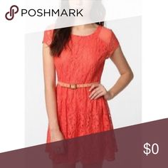 Coming Soon Coincidence & Chance Lace Dress Coral Lace Short Sleeve Fit and Flare Dress with Mesh Shoulder Detail &Back Zip. In excellent condition. Would with size XXS-XS. FEEL FREE TO MAKE ME AN OFFER! I'm happy to answer any questions you may have! Urban Outfitters Dresses Mini