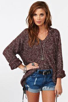 Maddy Oversized Knit - Burgundy  $68.00