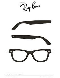 Paper Ray Ban glasses pattern for tutorial