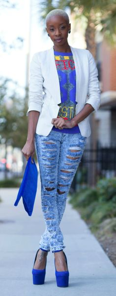 Blue Suede Shoes / Blake Von D. I love this outfit expect for the shirt underneath the jacket.