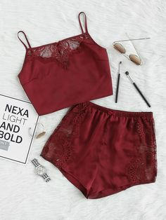 Romwe Lace Insert Crop Cami And Shorts Pajama SetL