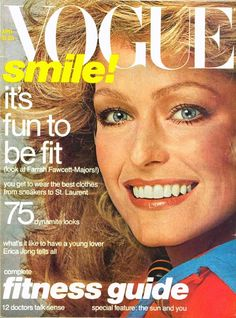 Farrah smiles beautifully on the cover of Vogue magazine, 1977.