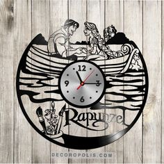 Disney princess Rapunzel wall decal and clock vinyl record image 1