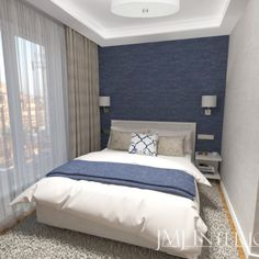 granatowa tapeta, sypialnia, tapeta Bed, Furniture, Home Decor, Decoration Home, Stream Bed, Room Decor, Home Furnishings, Beds, Home Interior Design