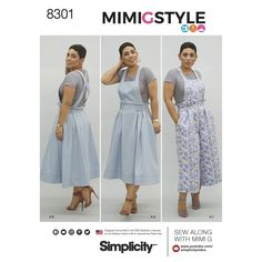Simplicity 8301 Mimi G Style Misses' Overalls and Knit Crop Top sewing pattern