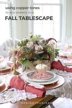 A Burnished Copper Tablescape for a Warm Thanksgiving Dinner Copper Tablescape Thanksgiving Table Settings, Thanksgiving Tablescapes, Thanksgiving Decorations, Table Decorations, Diy Centerpieces, Thanksgiving Holiday, Family Holiday, Country Table Settings, Casual Table Settings