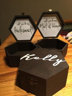 "Custom ""will you be my bridesmaid?"" Bridesmaid/Maid of Honor, Matron of Honor Proposal Box Gift FifthandGrey etsy $25.00"