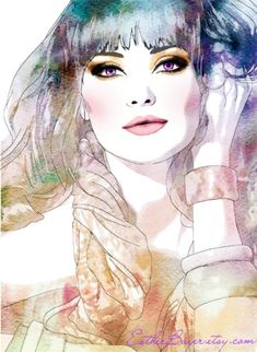 Exotic Efflorescence - Watercolor Fashion Illustration Print by Esther Bayer Art And Illustration, Portrait Illustration, Watercolor Portraits, Watercolor Art, Portraits Illustrés, Art Visage, Arte Fashion, Fashion Models, Watercolor Fashion
