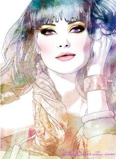 Exotic Efflorescence - Watercolor Fashion Illustration Print