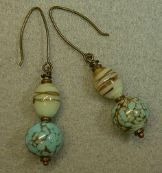Vintage Aqua Blue Amber Crackle Porcelain Bead Earrings,Japanese glass