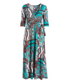 Teal & Coral Paisley Ruffle Maxi Dress - Plus | zulily