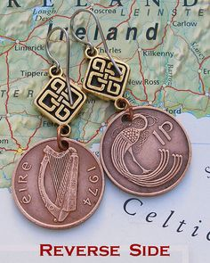 Irish coin earrings-like the idea, not terribly difficult to make.