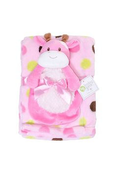 Babygear - Cow Blanket with Squeaker Doll in Pink