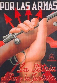 Poster ID: CL30027 Original Title: Por las Armas - La Patria el Pan y la Justicia English Title: To Arms - For the Motherland, Bread and Justice Designer: Cabanas Year of Poster: 1930s Category: Political/Spanish Civil War Country of Poster: Spanish Size: 39 x 25 inches = 99 x 64 cm Condition: Very Good Price: $2200 Available: Yes Notes: The Spanish Phalanx of the Assemblies