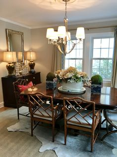 Bamboo and cowhide Dining Rooms, Dining Table, Chippendale Chairs, January 14, Home Hacks, Upholstered Chairs, Living Spaces, Lamps, Bamboo