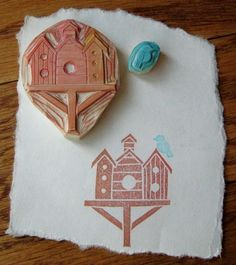 hand-carved stamps - bird houses