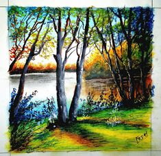 easy drawings lake oil pastel drawing forest beginners painting draw scenery paintings pencil fancy landscape