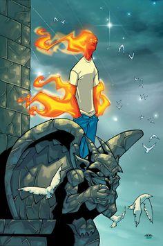 Human Torch # 9 by Skottie Young Marvel Comic Universe, Marvel Dc Comics, Marvel Vs, Comic Books Art, Comic Art, Book Art, Comic Character, Character Design, Mister Fantastic