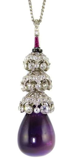 Early 20th century amethyst and diamond drop pendant.