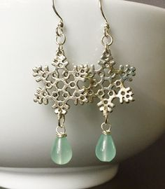 Snowflake and Chalcedony Dangle Earrings by TheHappySparrowShop