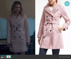 Betty's pink trench coat on Riverdale. Outfit Details: https://wornontv.net/71108/ #Riverdale