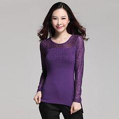 Floral mesh yoke & sleeves Shirt - 3 colors - USD $ 14.99