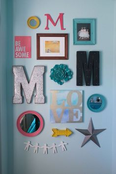 Mallory's Room: gallery wall Walls painted SW 6484 – Meander Blue. Pre-tween teen girls bedroom. Turquoise walls.: